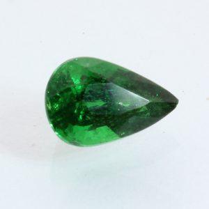 Deep Grass Green Tsavorite Faceted Rain Drop 6.5 x 4.3 mm Gemstone .67 carat