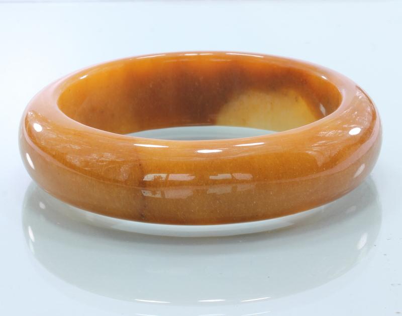 58.4 mm Burma Carnelian Peach Orange Chalcedony Stone Bangle Bracelet 7.2 inch