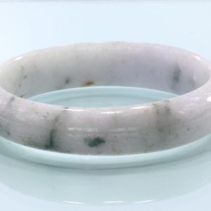 58 mm Burma Spotted White Jadeite Untreated Stone Bangle Bracelet 7.2 inch