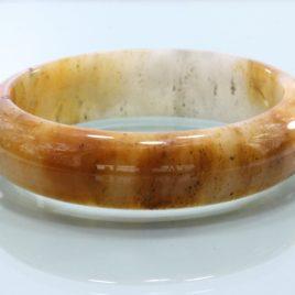 62.7 mm Burma Carnelian Peach White Chalcedony Stone Bangle Bracelet 7.8 inch