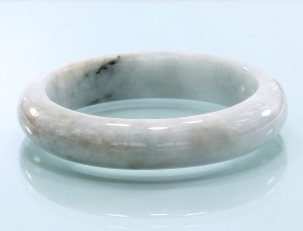 50.7 mm Burma Greenish White Jadeite Untreated Stone Bangle Bracelet 6.3 inch