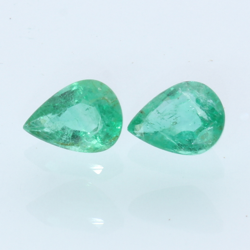 Matched Pair Emerald Green Beryl Faceted Pear Cut Gems 2.03 carat