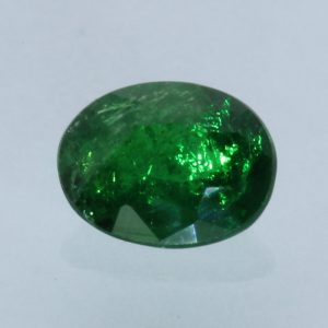 Deep Grass Green Tsavorite Garnet Oval Faceted 6.6 x 5.1 mm Gemstone .82 carat