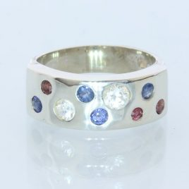 Red White and Blue Natural Gems Handmade Sterling Silver Unisex Ring size 7.25
