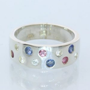 Red White and Blue Natural Gems Handmade Sterling Silver Unisex Ring size 7