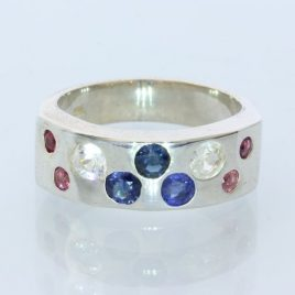 Red White and Blue Natural Gems Handmade Sterling Silver Unisex Ring size 6.75