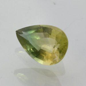Bi-Color Green Yellow Lab Created Quartz Gem Faceted 11x7.5 mm Pear 2.22 carat