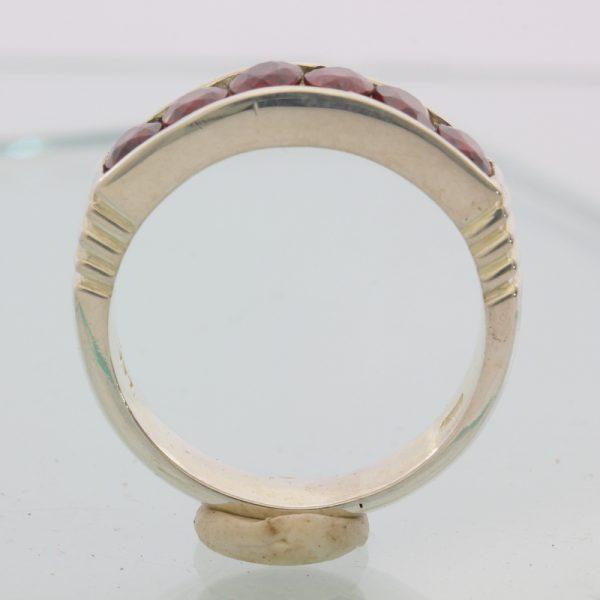 Red Orange Almandine Garnets Channel Set Handmade Silver Unisex Ring size 11.5
