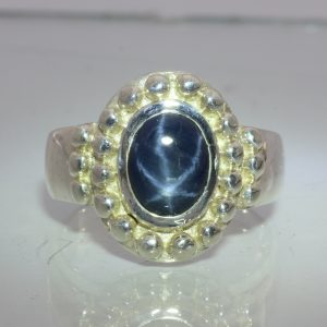 Dark Blue Diffused Star in a Natural Sapphire Handmade Silver Gents Ring size 11