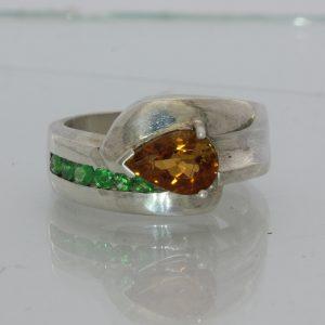 Rusty Orange Tourmaline Tsavorite Green Garnet Unisex Ladies Gents Ring size 7