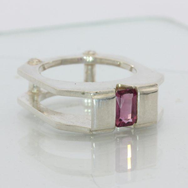 Raspberry Rhodolite Garnet Unisex Gents Handmade Sterling Silver Ring size 7.5