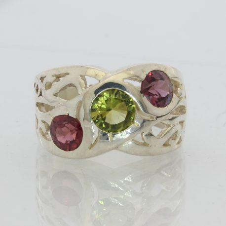 Green Peridot Raspberry Garnet Handmade Ajoure 925 Silver Unisex Ring size 6.25