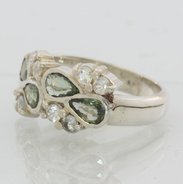 Gray Green and White Sapphire Ladies Handmade Sterling Silver 925 Ring size 7.5