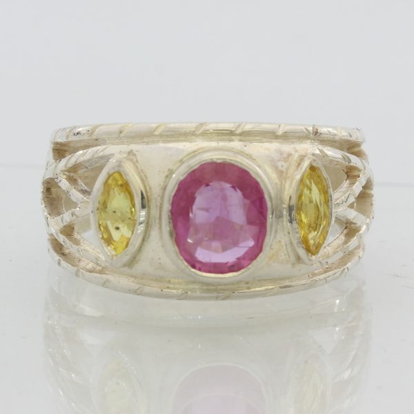 Pink Sapphire Ruby and Yellow Sapphire Handmade Silver Gents Ladies Ring size 9