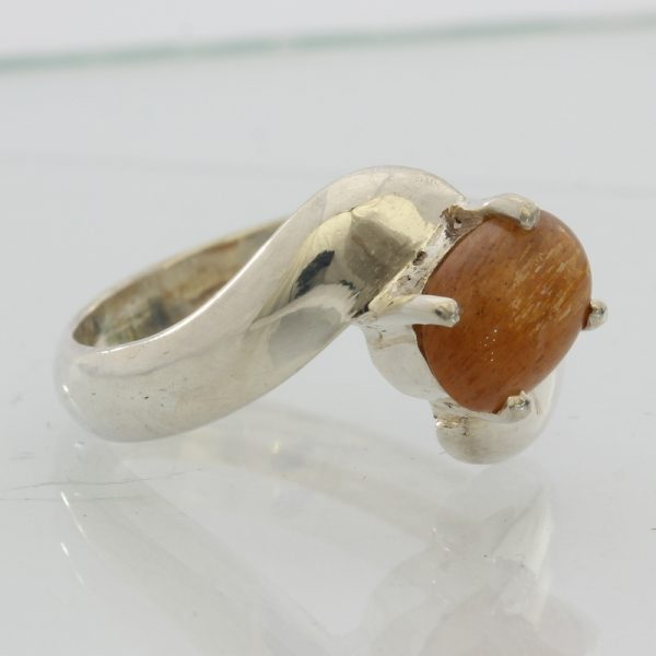Tanzanian Confetti Sunstone Handmade Sterling 925 Silver Ladies Ring size 6.75