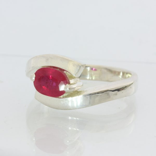 Pigeon Blood Red Lab Created Ruby Handmade Sterling Silver Ladies Ring size 7.25