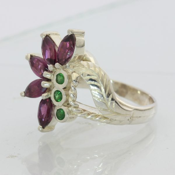 Red Purple Rhodolite Green Tsavorite Garnets Handmade Silver Ladies Ring sz 7.75
