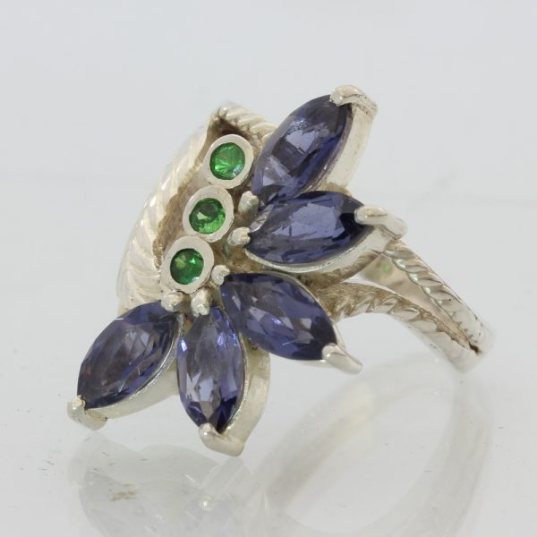 Blue Iolite Green Tsavorite Garnet Handmade Sterling Silver Ladies Ring size 7.5
