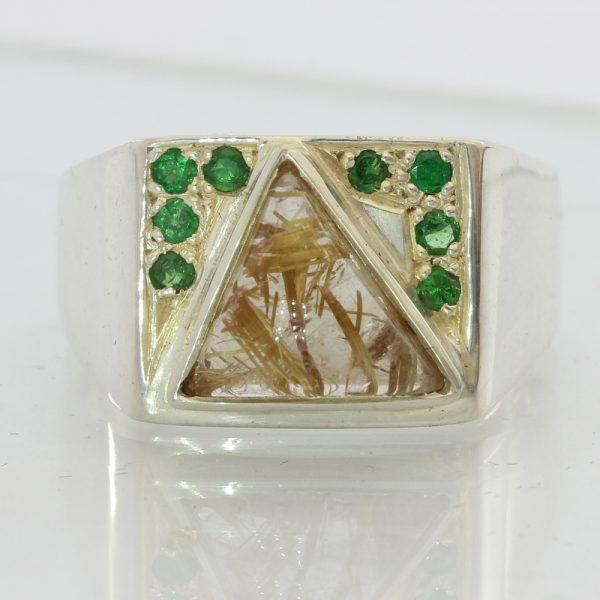 Golden Rutile Quartz and Tsavorite Garnets Handmade Sterling Silver Ring sz 11.5