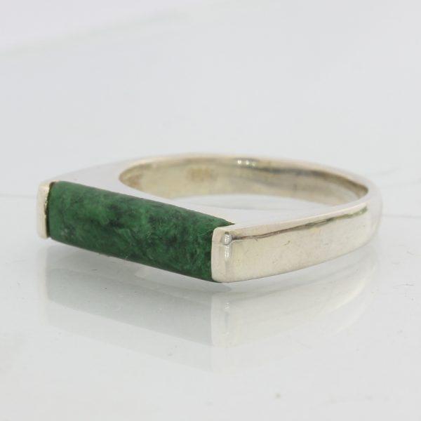 Green Mawsitsit Gemstone Unisex Gents Ladies Handmade 925 Silver Ring size 9.25