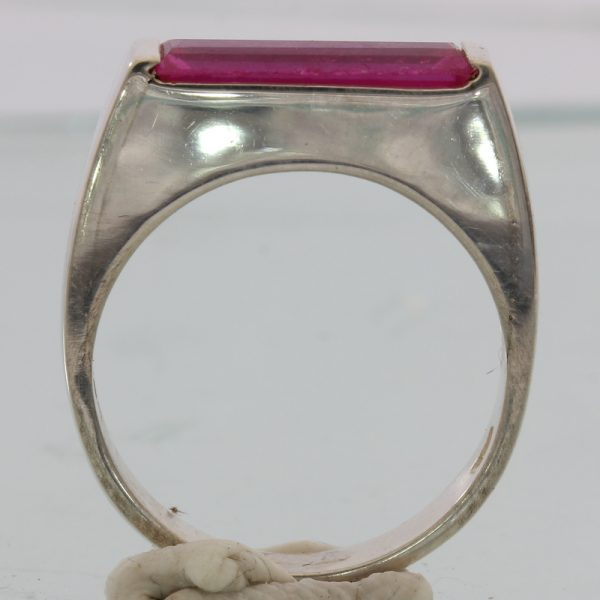 Lab Created Hot Pink Sapphire Ruby Unisex Handmade Sterling Silver Ring size 7.5