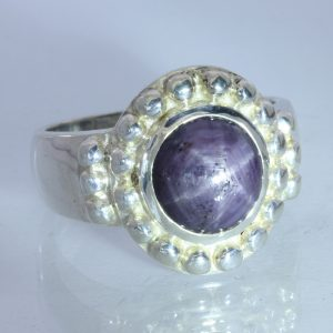 Purple Star Sapphire Sterling Halo Handmade 925 Silver Gents Ring size 11.25