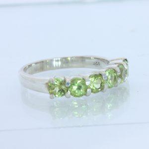 Green Peridot Ladies Handmade Sterling 925 Silver Six Gemstone Ring size 8.25