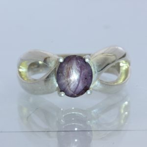 Star Ruby, no glass filling, Handmade Silver Ladies Split Band Ring size 7.25