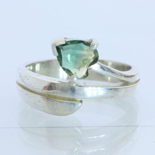 Bi-color Heart Lab Created Quartz Ladies Handmade Sterling Silver Ring size 6.75