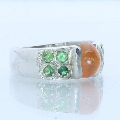 Fanta Orange and Tsavorite Garnet Handmade Sterling Silver Unisex Ring size 8