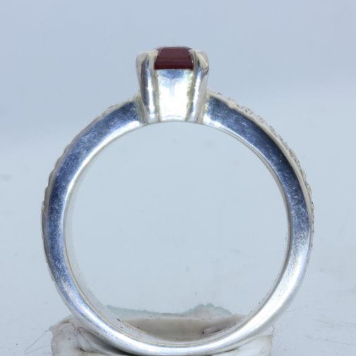 Red Ruby with No Leaded Glass Handmade Argentium 960 Silver Unisex Ring sz 5.75