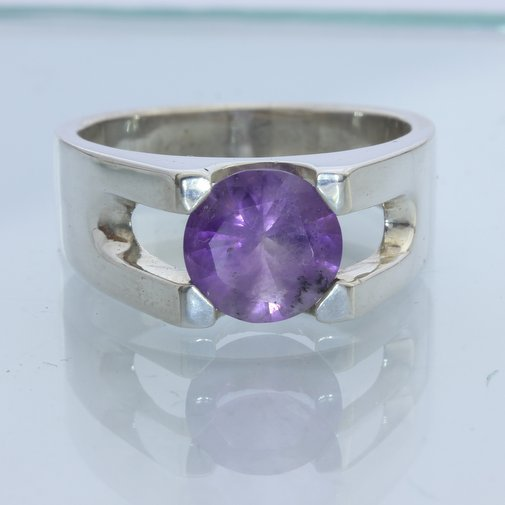 Natural Amethyst Handmade Sterling Silver Unisex Ladies Gents Ring size 10.25