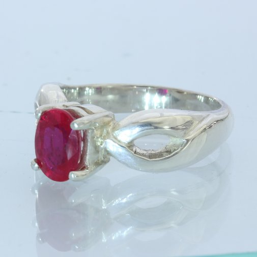 Flux Included Lab Created Ruby Handmade Sterling 925 Silver Ladies Ring size 6.5
