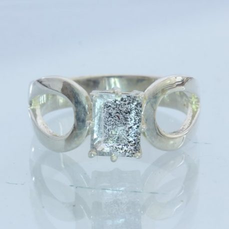 Super 7 Quartz Rectangle Handmade Silver Unisex Stacking Solitaire Ring size 6