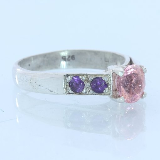 Pink Spinel and Amethyst Gemstones Handmade Sterling Silver Ladies Ring size 7.5