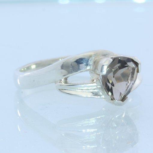Smoky Quartz Trillion Handmade 925 Sterling Silver Ladies Flair Ring size 10.25