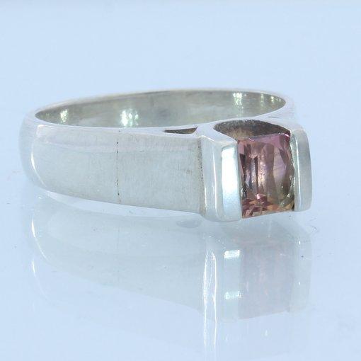 Orangish Pink Tourmaline Gemstone Ladies Handmade Sterling Silver Ring size 6.75