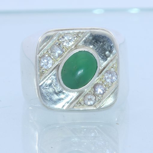Australian Chrysoprase and Sapphires Handmade Sterling Silver Gents Ring size 10