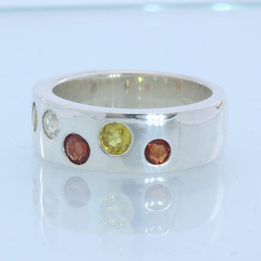 Red Yellow White Orange Sapphire Handmade Sterling Unisex Gents Ladies Ring sz 8