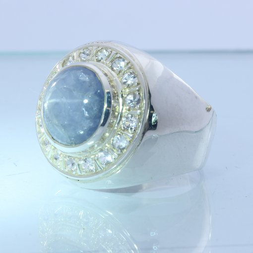 Blue Star Sapphire White Sapphire Halo Handmade Sterling Gents Ring size 12.25