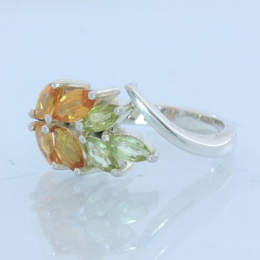 Orange Sapphire Peridot Handmade Sterling 925 Silver Ladies Floral Ring size 7