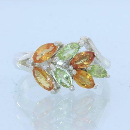 Orange Sapphire Peridot Gemstone Handmade Sterling Silver Ladies Ring size 7.25