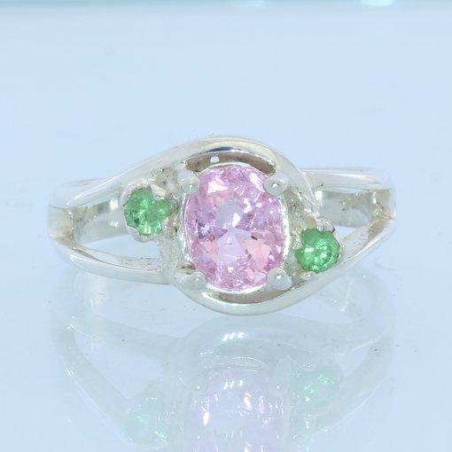 Pink Spinel Green Tsavorite Garnet Handmade Sterling Silver Ladies Ring size 7