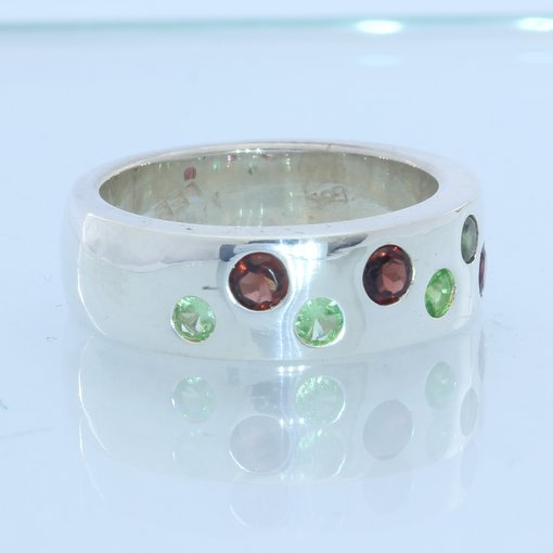 Red and Green Garnets Handmade 925 Sterling Unisex Gents Ladies Ring size 7.25