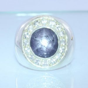 Purple Black Star Sapphire White Sapphire Halo Handmade Sterling Ring size 10.75