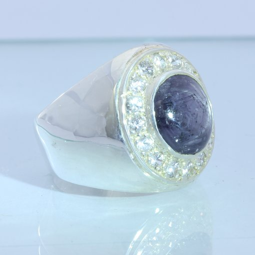 Purple Black Star Sapphire White Sapphire Halo Handmade Sterling Ring size 10.75