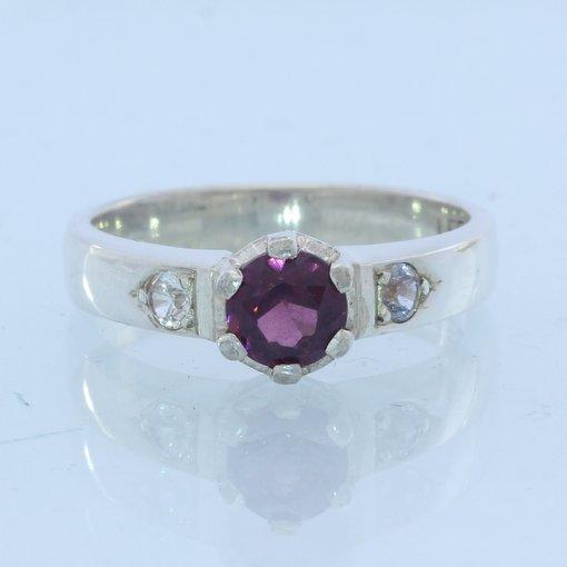 Dark Raspberry Spinel White Sapphires Handmade Sterling Silver Ladies Ring sz 6