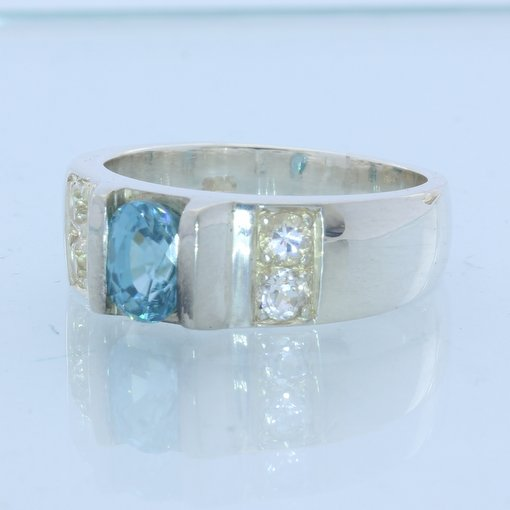 Blue Zircon with White Topaz Handmade Sterling 925 Silver Unisex Ring size 10