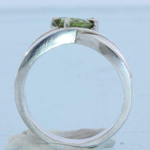 Peridot Heart Handmade Sterling Silver Ladies Ring, Birthstone of August size 7