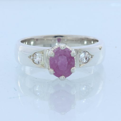 Pink and White Sapphires no leaded glass Handmade Sterling 925 Ladies Ring sz 6
